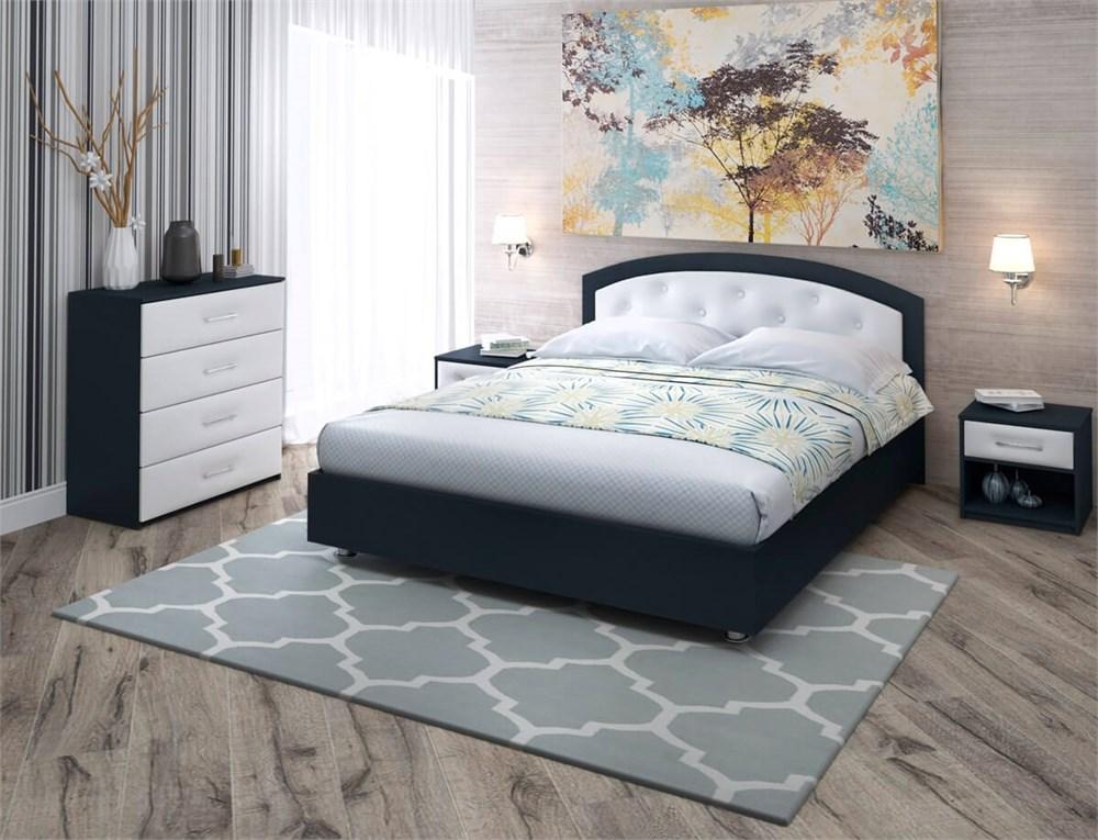 """Кровать """"Мелори 1"""" Цвет Черный+белый"""