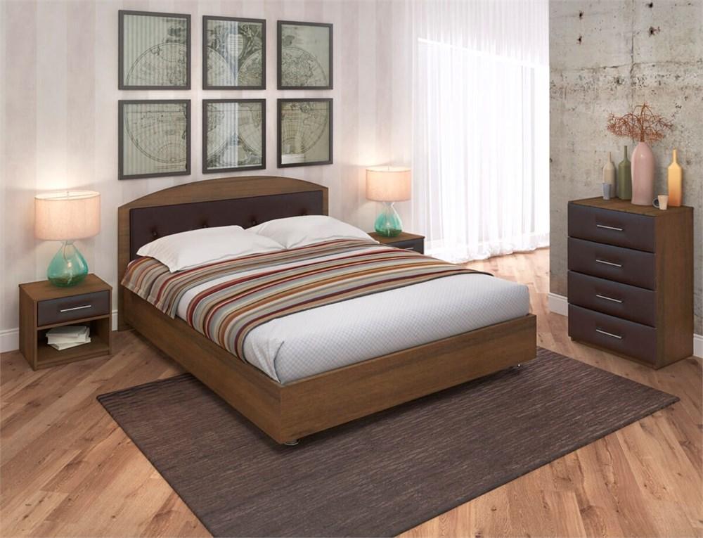 """Кровать """"Мелори 2"""" Цвет Орех Эко+коричневый"""